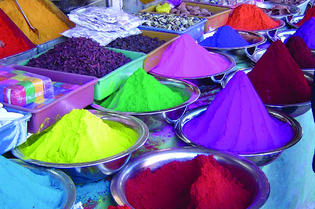 Coloured Powder and Pigments Used in Holi Festival